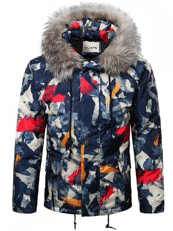 buy Paint Splatter Fur Hooded Drawstring Design Padded Jacket - ROSSO RED 2XL