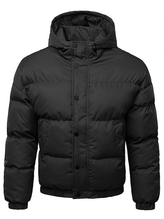 women Button Up Warmth Hooded Down Jacket - BLACK XL