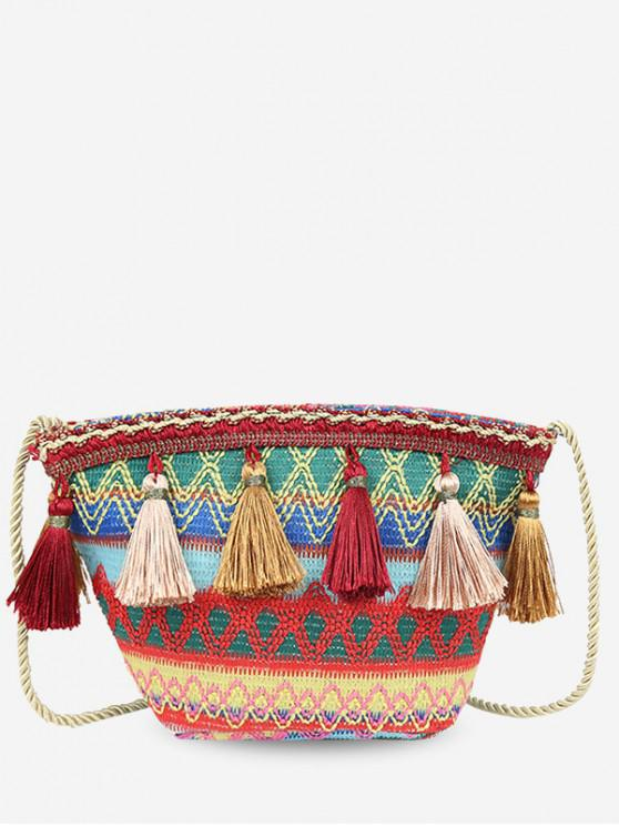 Ethnic Knitted Ripple Tassel Bag - Vino Rosso