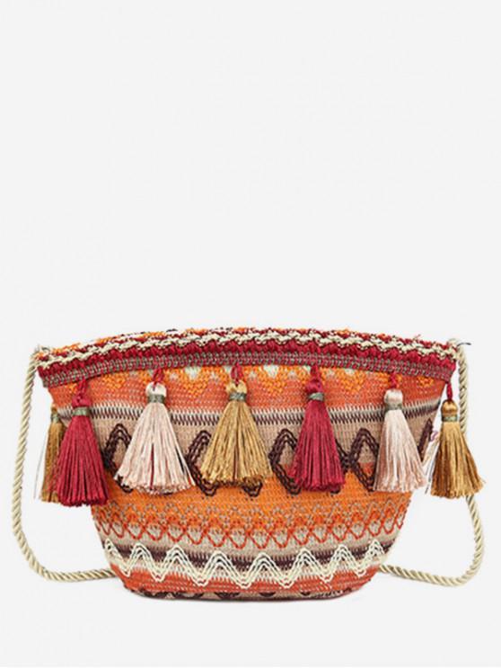 buy Ethnic Knitted Ripple Tassel Bag - TIGER ORANGE