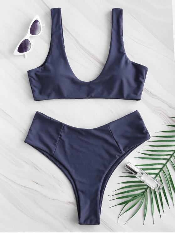 women ZAFUL High Waisted Scoop Bikini Set - DARK SLATE BLUE S