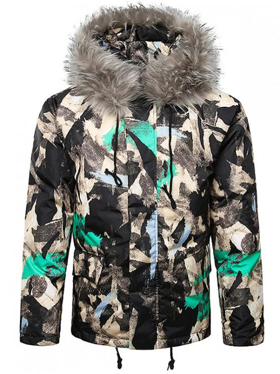 womens Paint Splatter Fur Hooded Drawstring Design Padded Jacket - AQUAMARINE M