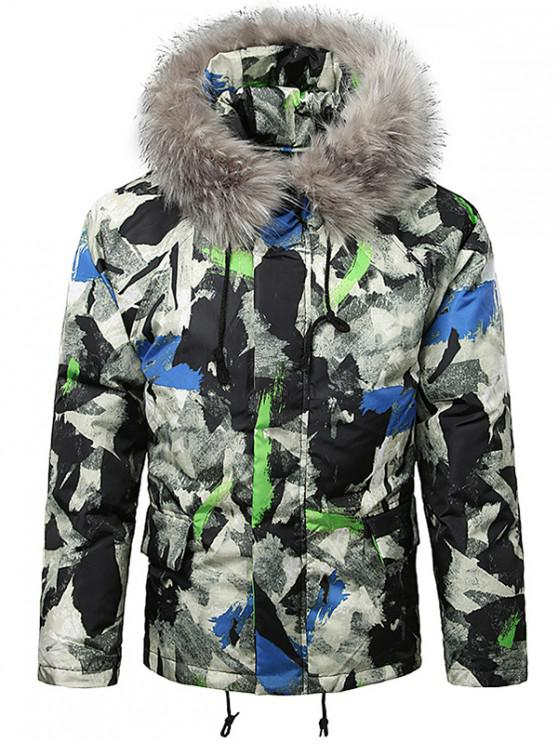 lady Paint Splatter Fur Hooded Drawstring Design Padded Jacket - SILK BLUE M