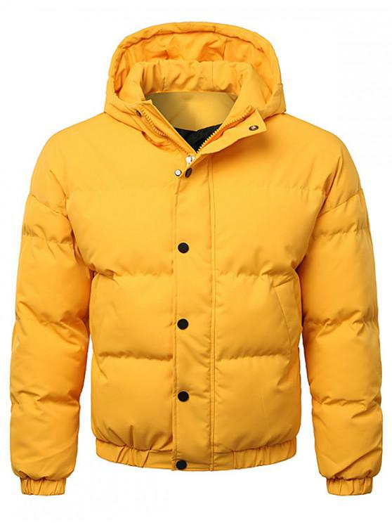 fashion Button Up Warmth Hooded Down Jacket - BRIGHT YELLOW XL