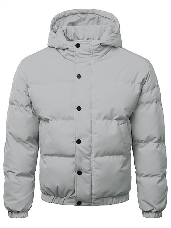 sale Button Up Warmth Hooded Down Jacket - GRAY CLOUD XL
