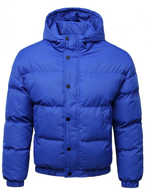 online Button Up Warmth Hooded Down Jacket - COBALT BLUE 2XL