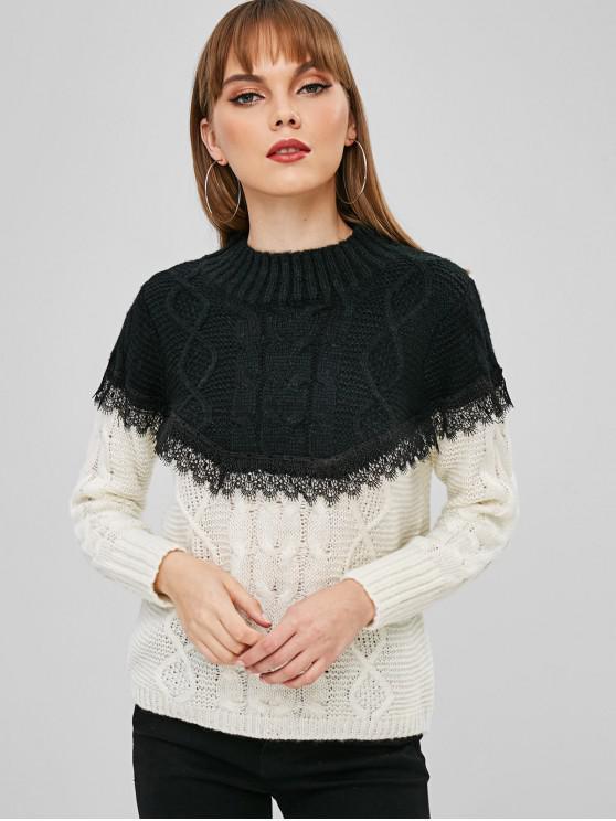 Suéter tejido de punto con dos tonos de cuello simulado - Negro M