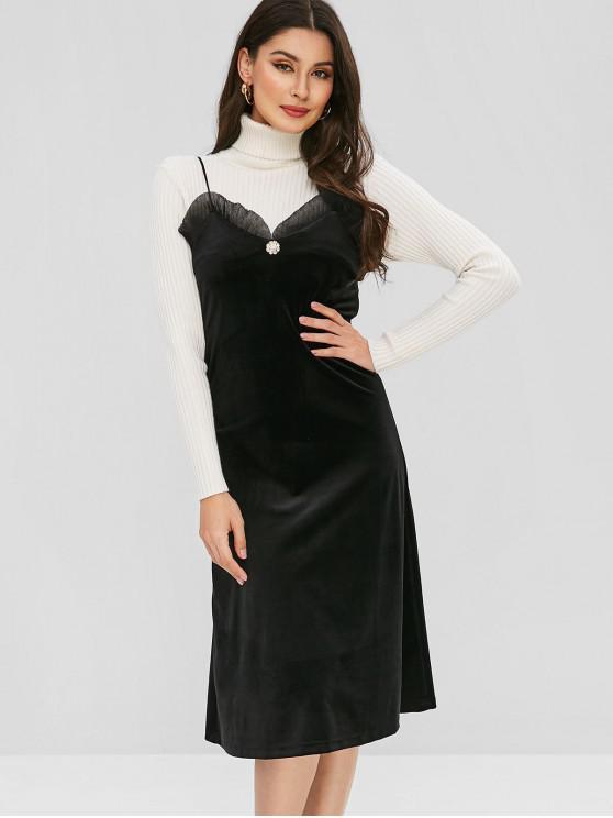 Vestido de volante de camuflaje de terciopelo - Negro L