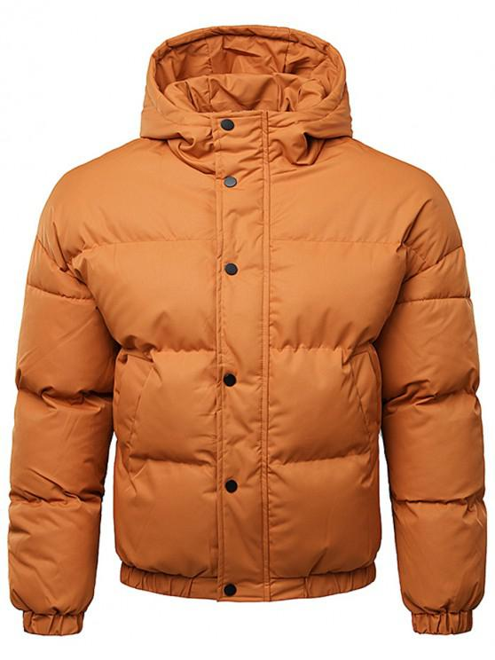 hot Button Up Warmth Hooded Down Jacket - TIGER ORANGE L