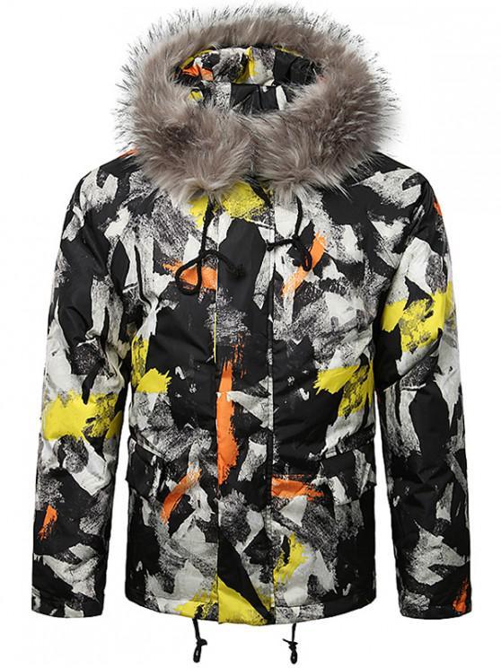 hot Paint Splatter Fur Hooded Drawstring Design Padded Jacket - YELLOW M