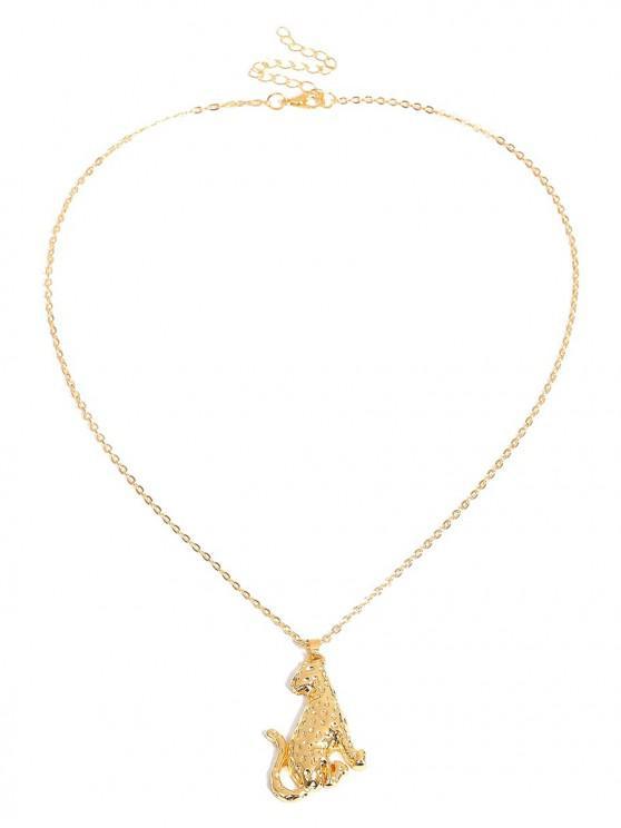 Collar de metal con forma de leopardo europeo americano - Oro