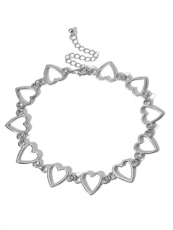 women Heart Shape Metal Hollowed Choker Necklace - SILVER