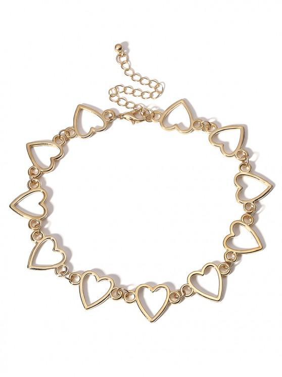 womens Heart Shape Metal Hollowed Choker Necklace - GOLD