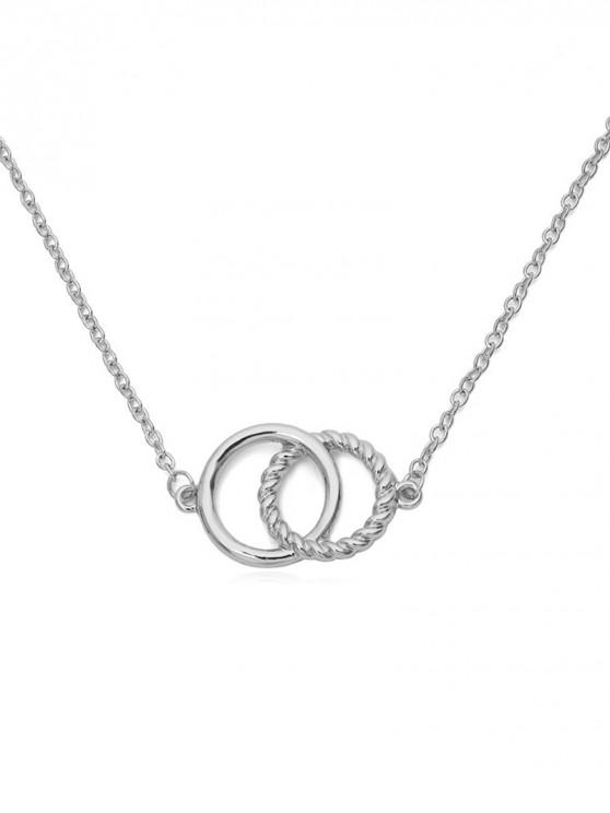 hot Double Rings Metal Choker Necklace - SILVER