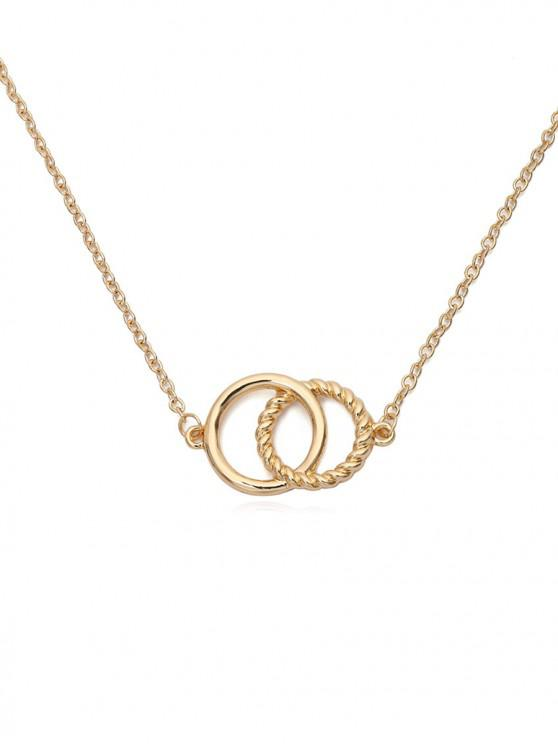 best Double Rings Metal Choker Necklace - GOLD
