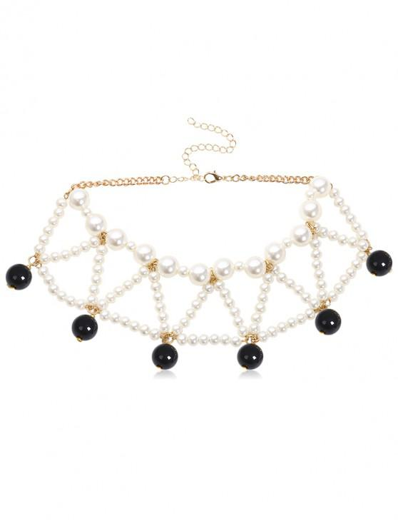affordable Triangle Faux Pearl Beading Design Necklace - BLACK