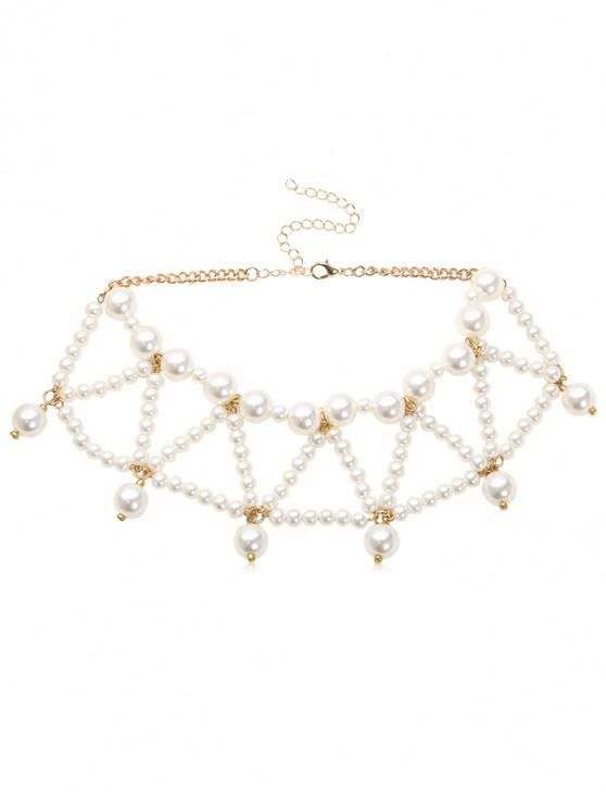fashion Triangle Faux Pearl Beading Design Necklace - WHITE