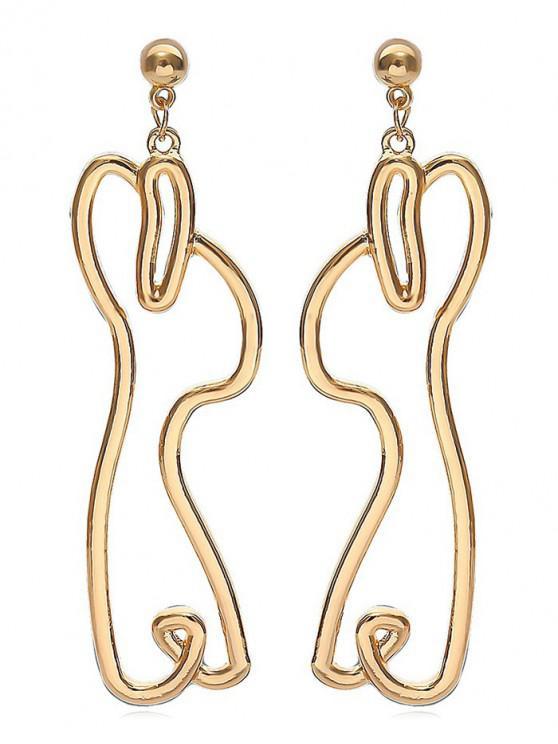 shop Geometric Shape Hollowed Metal Earrings - GOLD