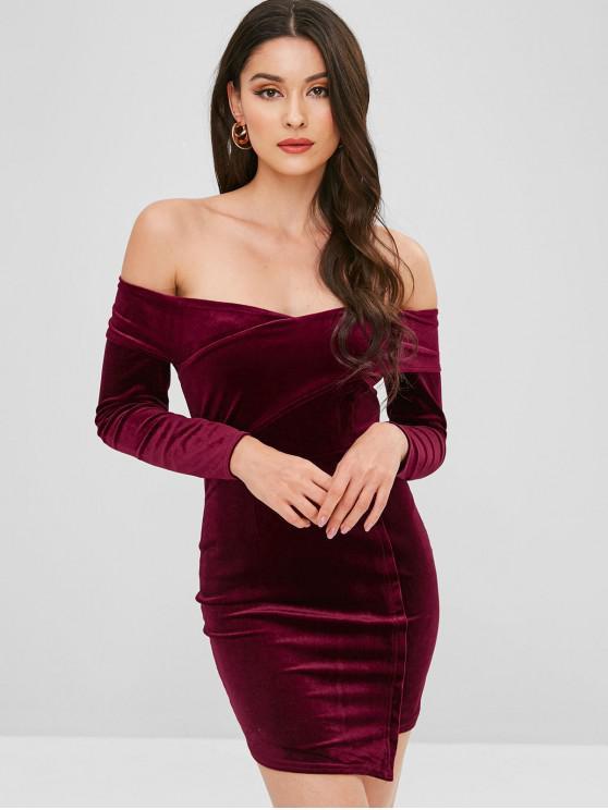 buy Velvet Off Shoulder Asymmetrical Dress - RED WINE M