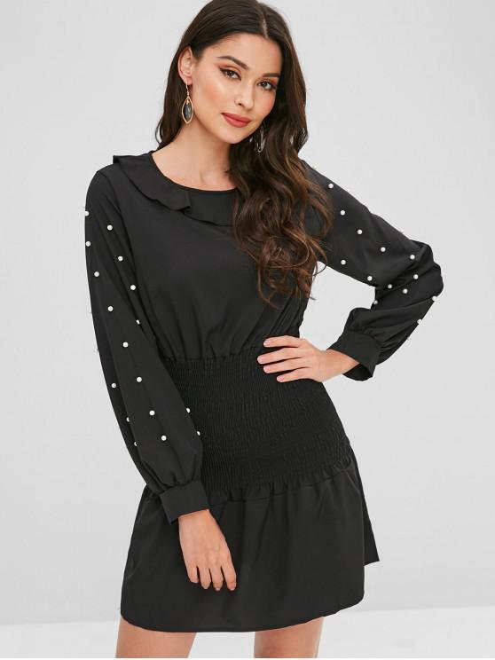 womens Beaded Ruffle Shirred Dress - BLACK XL