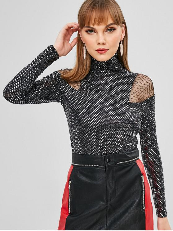 hot Turtleneck Mesh Panel Sequins Top - BLACK ONE SIZE