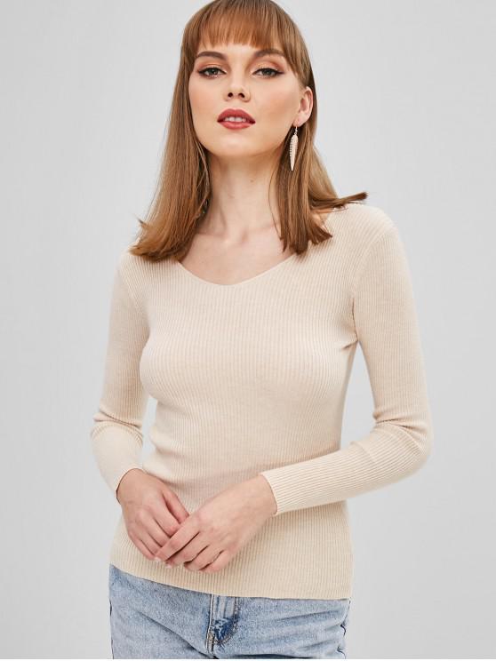 Suéter acanalado delgado - Albaricoque Única Talla