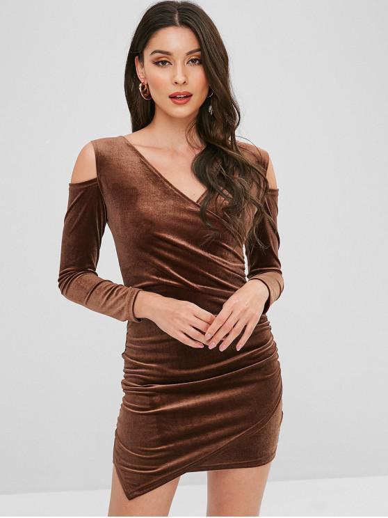 lady Velvet Cold Shoulder Surplice Dress - BROWN ONE SIZE