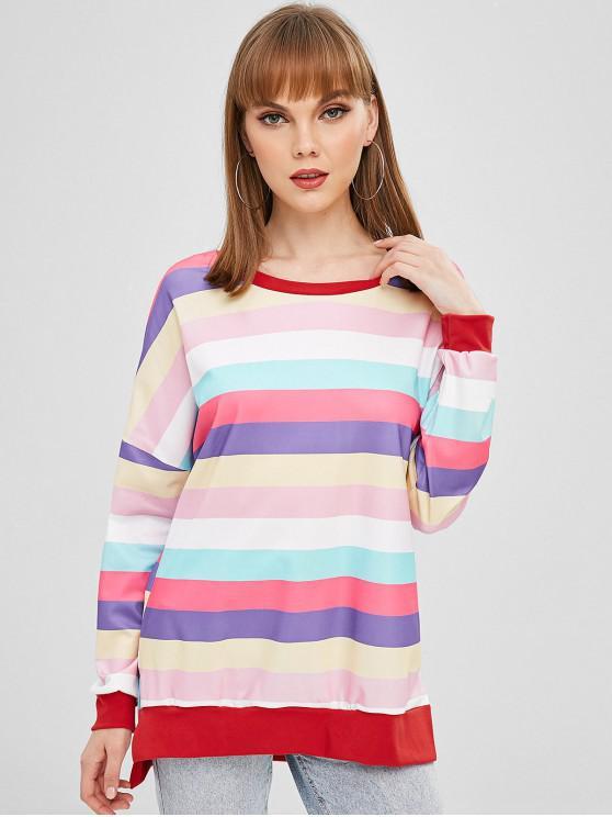 Sweat-shirt Surdimensionné Bouffant Rayé - Multi-A M
