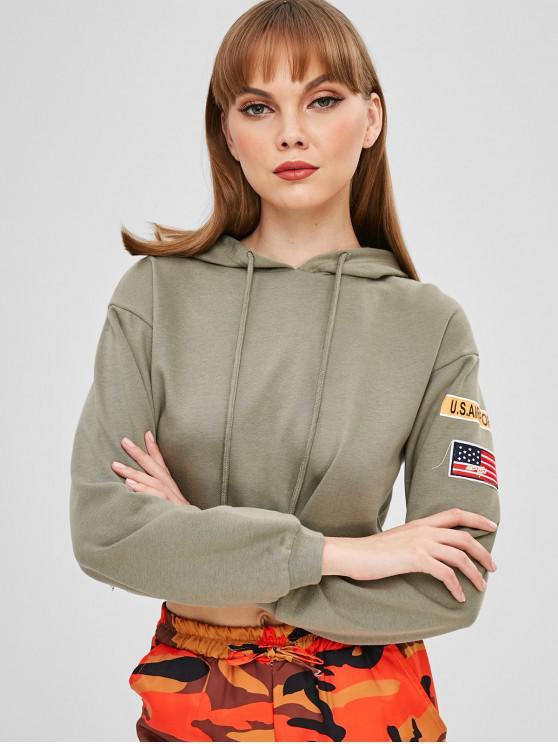 Lassen Sie Schulter-amerikanische Flagge grafische Ernte Hoodie fallen - Tarnanstrich Grün S