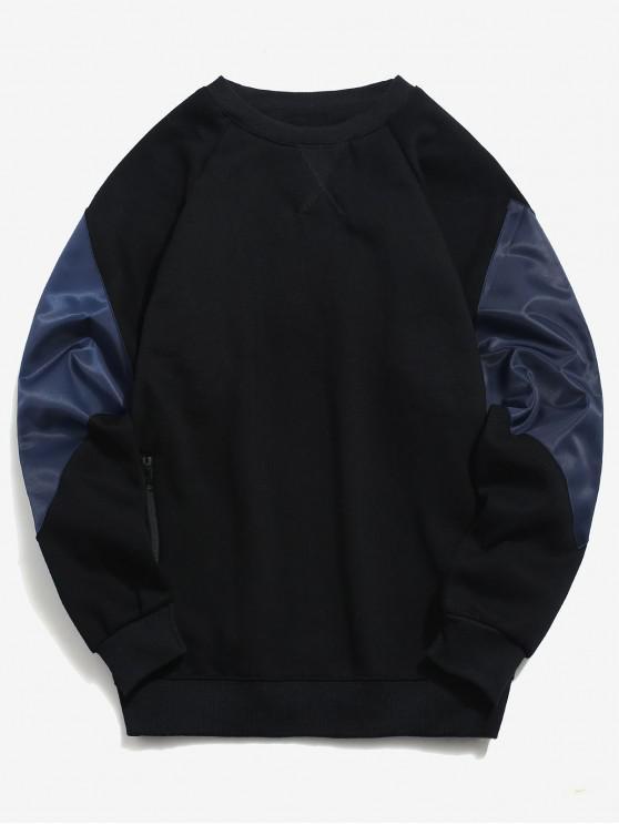 Sudadera con cremallera color block bolsillo polar - Negro 2XL