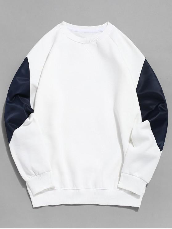 Sweat-shirt Zippé avec Poche en Blocs de Couleurs en Laine - Blanc 2XL