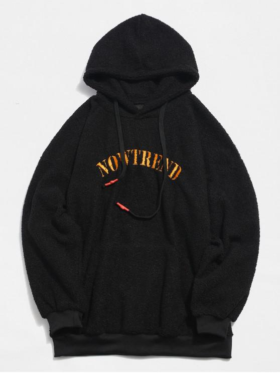 424cb93ddc 31% OFF] 2019 Contrast Letter Printed Fluffy Hoodie In BLACK | ZAFUL CA
