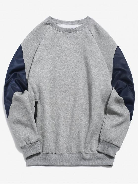 womens Zipper Pocket Color Block Fleece Sweatshirt - GRAY 2XL
