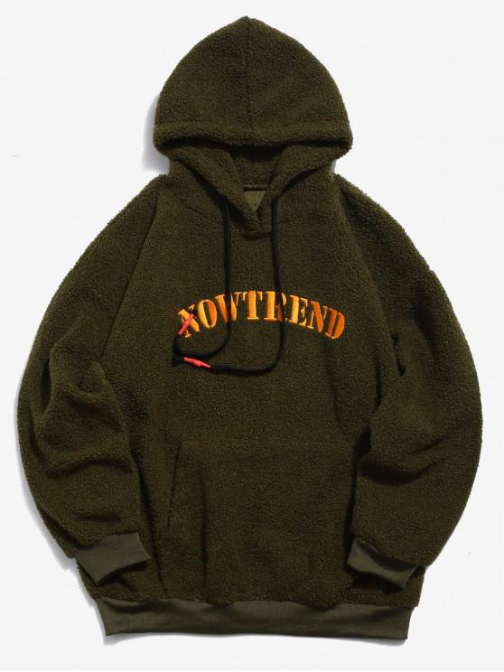 outfit Contrast Letter Printed Fluffy Hoodie - ARMY GREEN S