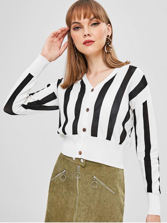 trendy Stripes Openwork Button Up Cardigan - WHITE S