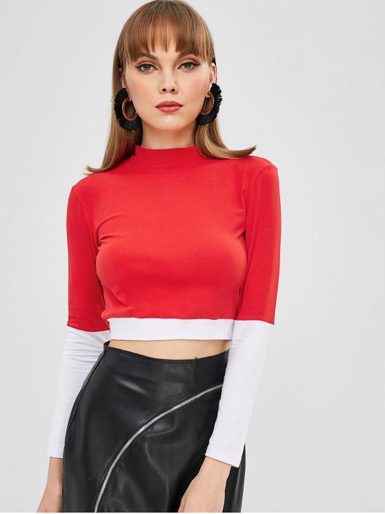 fashion Mock Neck Color Block Crop T-shirt - RED M