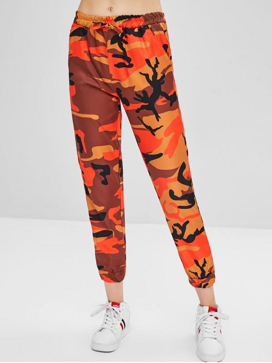 Pantaloni Di Camo Con Coulisse - Arancio S