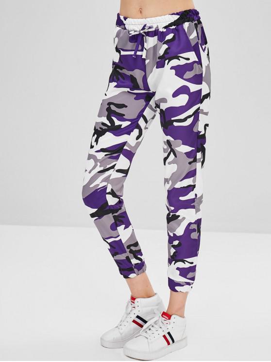 new Camo Drawstring Pants - PURPLE IRIS S