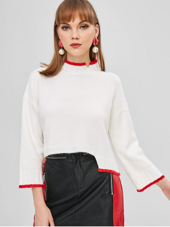 fancy Contrasting Mock Neck Asymmetrical Sweater - WHITE ONE SIZE