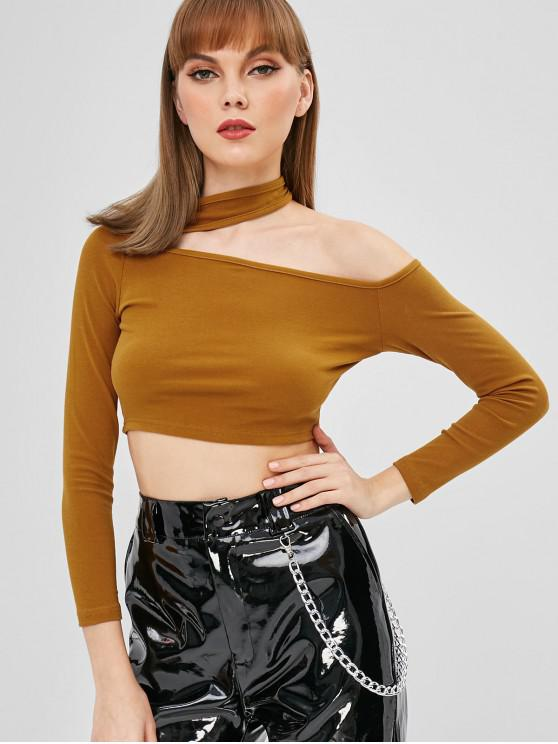 outfit Long Sleeve Cut Out Cropped Top - ORANGE GOLD ONE SIZE
