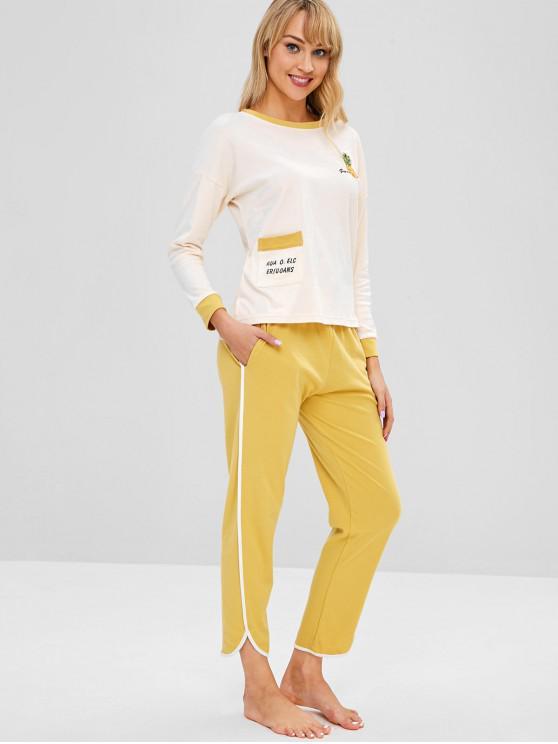 Ананасовый вышитый высокий низкий набор пижамы - Золотисто-коричневый L