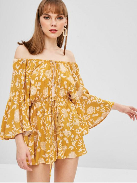 3f3731e99 49% OFF] 2019 Floral Print Off Shoulder Wide Leg Romper In YELLOW ...
