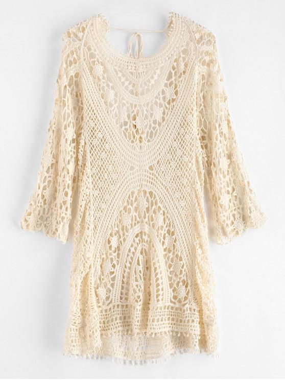 sale Backless Crochet Cover Up Dress - WARM WHITE ONE SIZE
