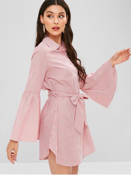 Flare Sleeve Stripes Shirt Dress - Vermelho M