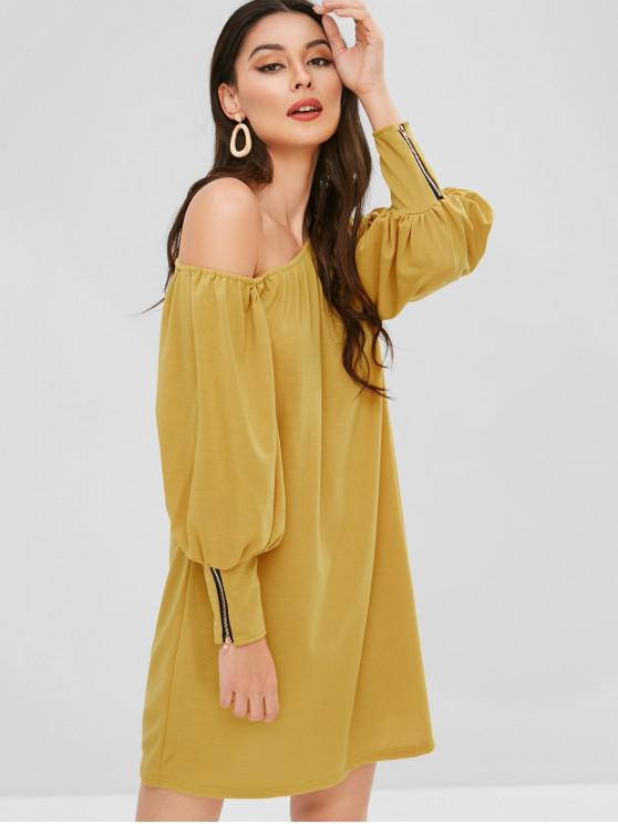 affordable Zippered One Shoulder Mini Dress - YELLOW L