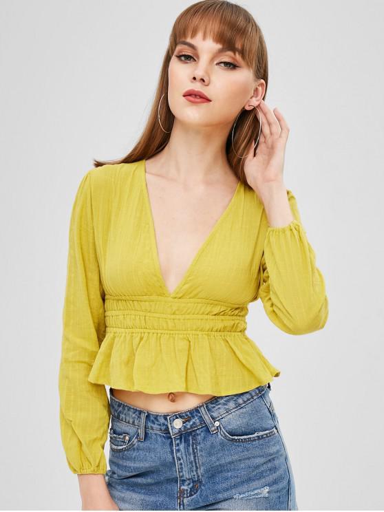 Blusa plunge fruncida - Amarillo XL