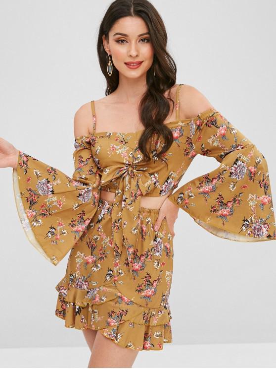 Conjunto de saia floral flare manga atada - Ouro Laranja M