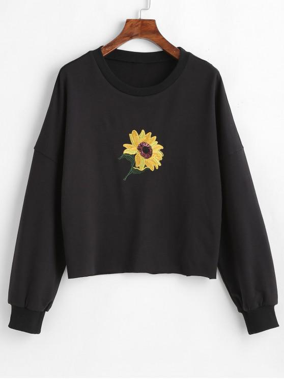 f668978601182 28% OFF  2019 Sequins Sunflower Embroidered Sweatshirt In BLACK