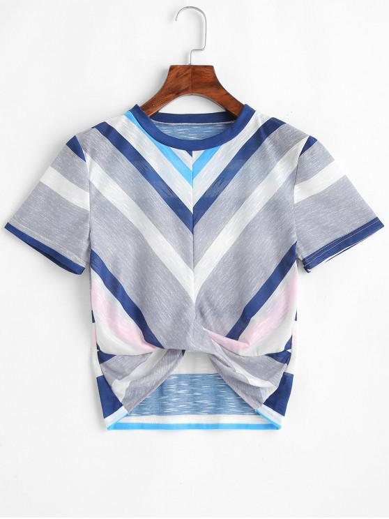 ZAFUL Striped Crop Tee - Multicolor S