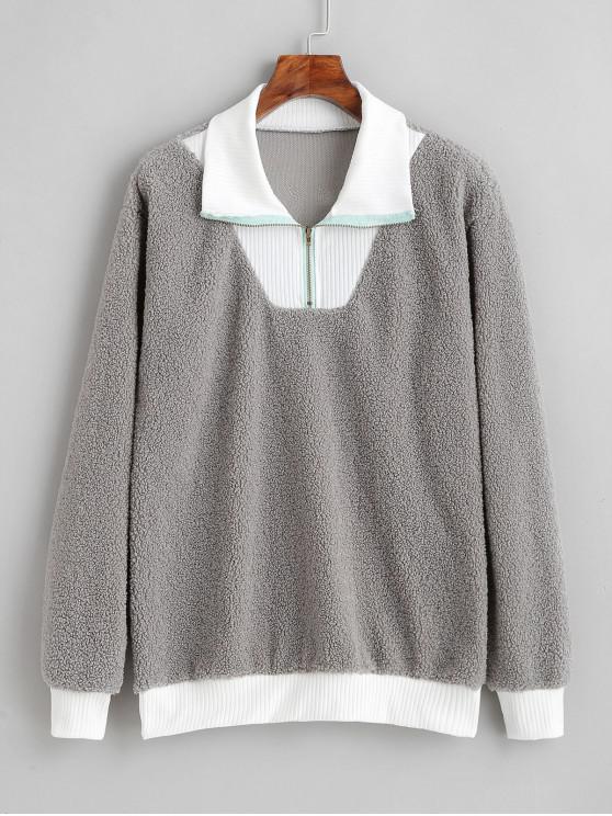 Sweat-shirt Zippé en Fausse Fourrure - Gris Clair M